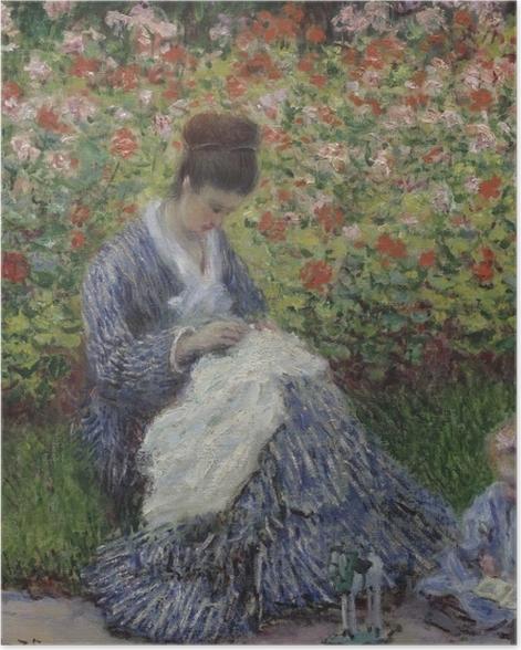 Plakat Claude Monet - Camille Monet z synem w ogrodzie w Argenteuil - Reprodukcje