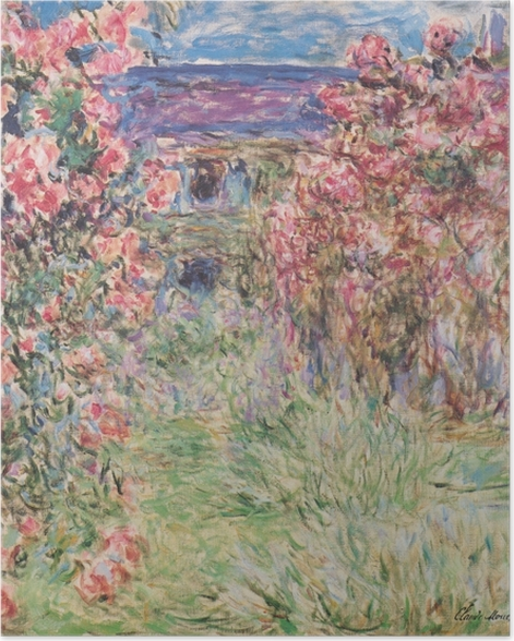 Plakat Claude Monet - Dom wśród róż - Reprodukcje