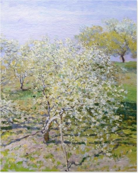 Plakat Claude Monet - Kwitnące jabłonie - Reprodukcje