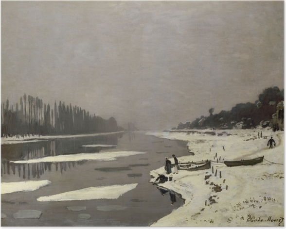 Plakat Claude Monet - Lód na Sekwanie w Bougival - Reprodukcje