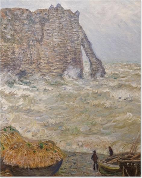 Plakat Claude Monet - Wzburzone morze niedaleko Étretat - Reprodukcje