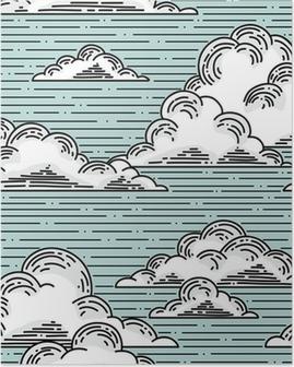 Plakát Clouds seamless pattern hand-drawn illustration. Vector background