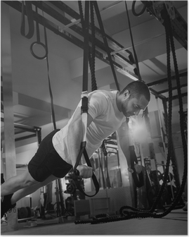Plakat Crossfit siłownia TRX trening Push up man