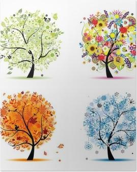 Plakát Čtyři roční období - jaro, léto, podzim, zima. Umění stromy