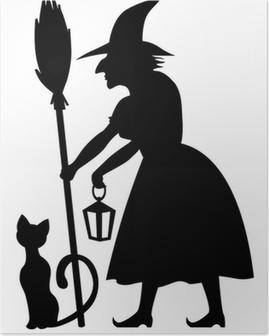 Plakat Czarownica i czarny kot
