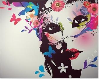 Plakát Dívka s maskou / Vector illustration
