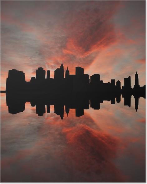 Plakát Dolní panorama při západu slunce s překrásná obloha Manhattan -
