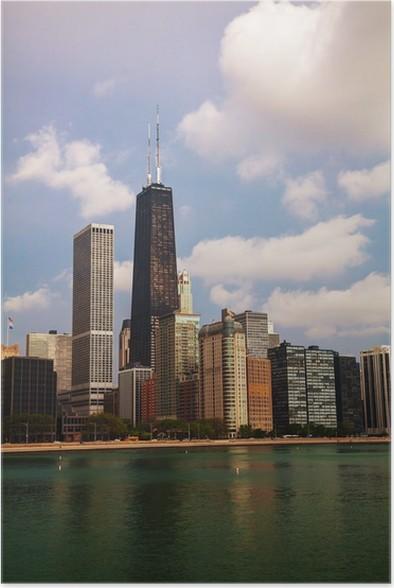 Plakát Downtown Chicago, IL v dopoledních hodinách - Amerika