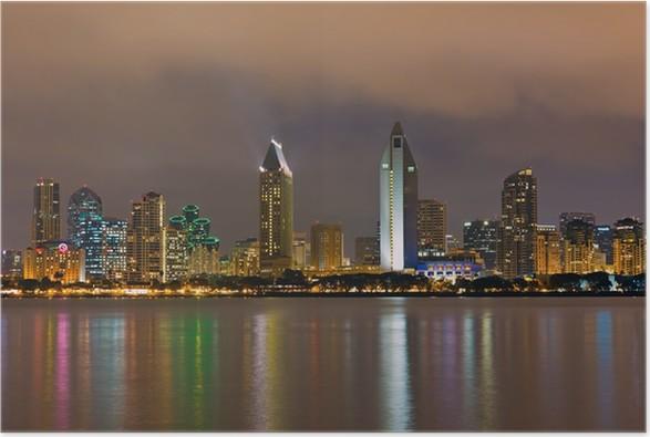 Plakát Downtown San Diego v noci - Amerika