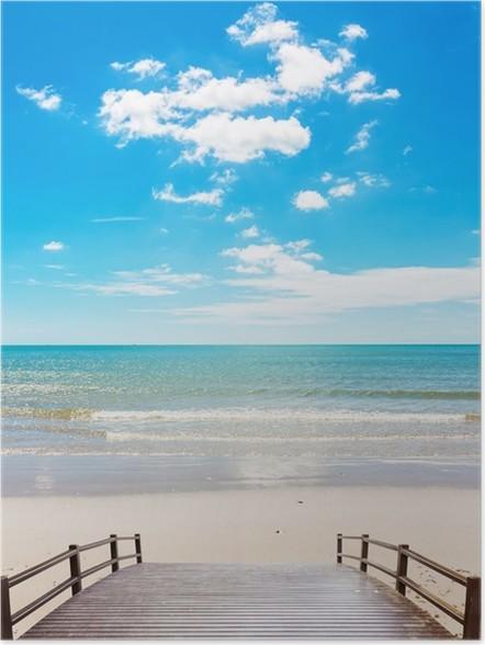 Plakát Dřevěný most na pláži - Roční období