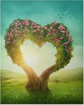 Plakat Drzewo w kształcie serca