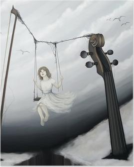55fd9d3cfa0b00 Plakat Dziewczynka niewiele siedzi na huśtawce w skrzypce świecie fantasy,  cyfrowe p