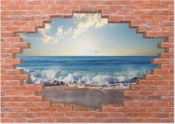 Plakat Dziura w murze - Morze. Zachód słońca. - Dziury w ścianie
