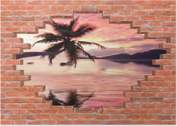 Plakat Dziura w murze - Morze - Dziury w ścianie