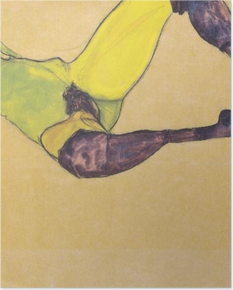 Plakat Egon Schiele - Kobieta w niebieskich pończochach - Reprodukcje