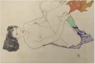Plakat Egon Schiele - Leżąca naga dziewczyna