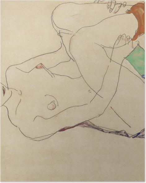 Plakat Egon Schiele - Leżąca naga dziewczyna - Reprodukcje