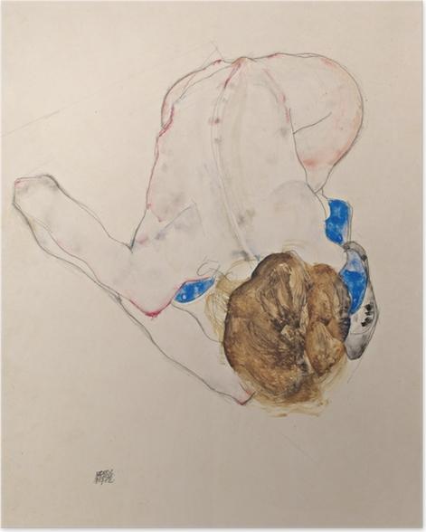 Plakat Egon Schiele - Naga dziewczyna w niebieskich pończochach pochylona do przodu - Reprodukcje