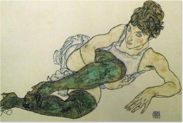 Plakat Egon Schiele - Pochylająca się kobieta w zielonych pończochach - Reprodukcje