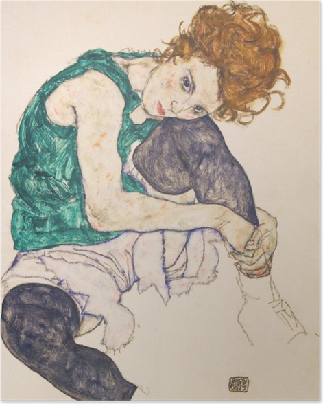 Plakat Egon Schiele - Siedząca kobieta ze zgiętym kolanem - Reprodukcje