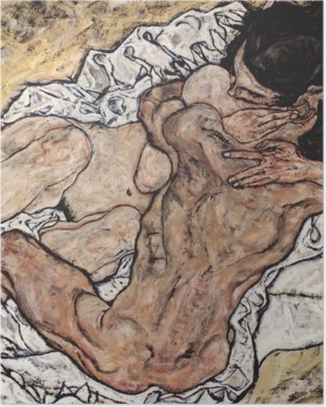 Plakat Egon Schiele - Uścisk - Reprodukcje