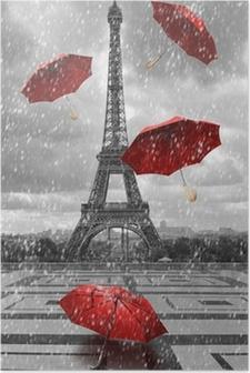 Plakát Eiffelova věž s létající deštníky.