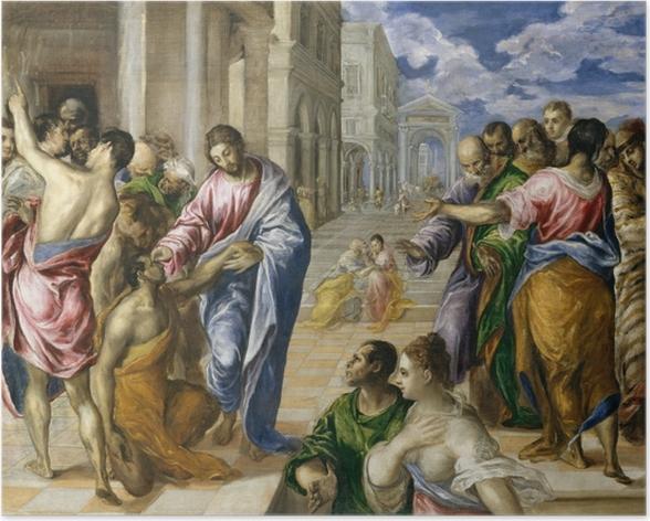 Plakat El Greco - Chrystus uzdrawiający ślepca - Reprodukcje