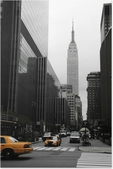 Plakat Emipre State Building i żółty, Manhattan, New York