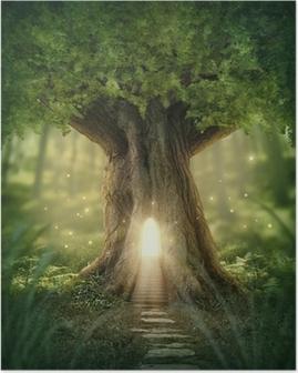 Plakat Fantazja domek na drzewie