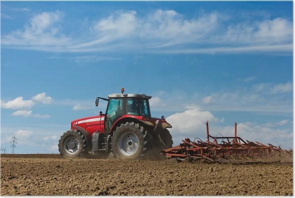 Plakát Farmář orat pole. Traktor a pluh - Zemědělství