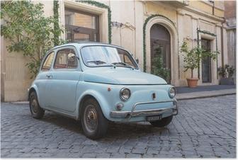 Plakat Fiat 500 na ulicach Rzymu