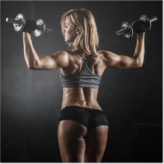 Plakat Fitness z hantlami
