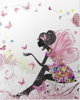 Plakat Flower Fairy w otoczeniu motyli