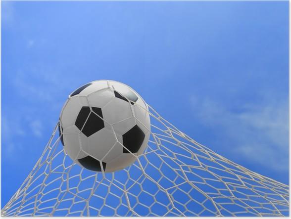 Plakát Fotbalový míč do sítě na modré obloze - Zápasy a soutěže