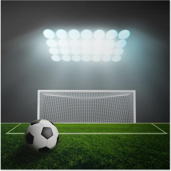 Plakát Fotbalový míč na zelené stadionu aréně - Úspěch
