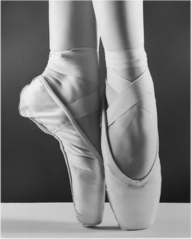Plakát Fotografie pointes Baletka je na černém pozadí