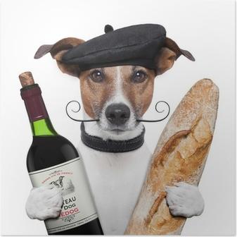 Plakat Francuski beret bagietki wina psa