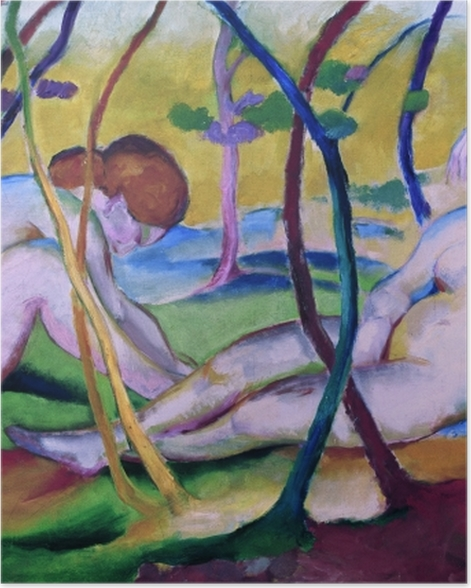Plakat Franz Marc - Nagie pod drzewami - Reproductions