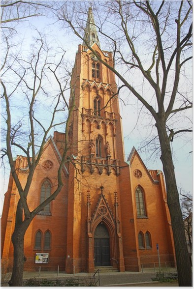 Plakát Friedenskirche (Church of Peace) ve Frankfurtu nad Mohanem Odrou, Německo - Evropa