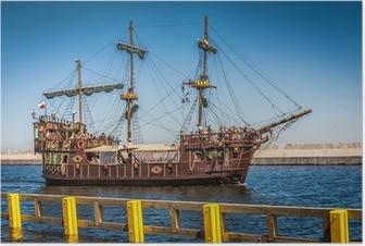 Plakat Galeon piracki statek na wodach Bałtyku