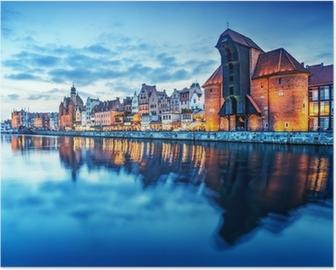 Plakat Gdańsk, Polska Stare Miasto, Motławy. Słynny Żuraw Żuraw