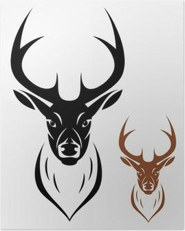 Plakat Abstrakcyjny Tatuaż Plemienny Głowy Jelenia Pixers