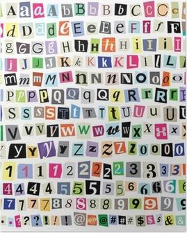 Plakat Grafika Ransom Note-Cut Listy papierowe, liczb, symboli
