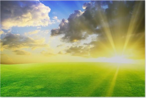 Plakát Green Field a Beautiful Sunset - Pozadí