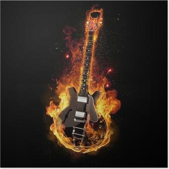 Plakat Guitar E w ogniu