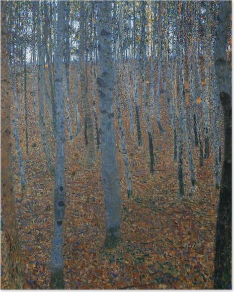 Plakat Gustav Klimt - Brzozowy las - Reprodukcje