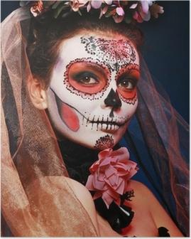 Plakat Halloween czaszki cukru makijaż