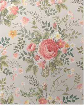 Plakát HD Bezešvé květinový vzor s růžemi