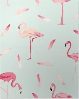 Plakát HD Flamingo Bird pozadí. Flamingo Peří na pozadí. Retro bezešvé vzor