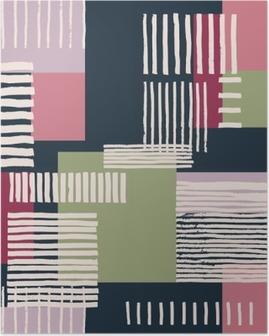 Plakát HD Pruhovaný geometrický vzor bezešvé. Ručně tažené nerovné pruhy na barevné obdélníky, volné uspořádání. Růžové a zelené tóny na námořnicky modrém pozadí. Textilní design.
